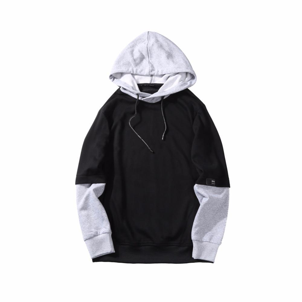 fall 2018 new men fleece hooded false two-piece outfit Men's fleece