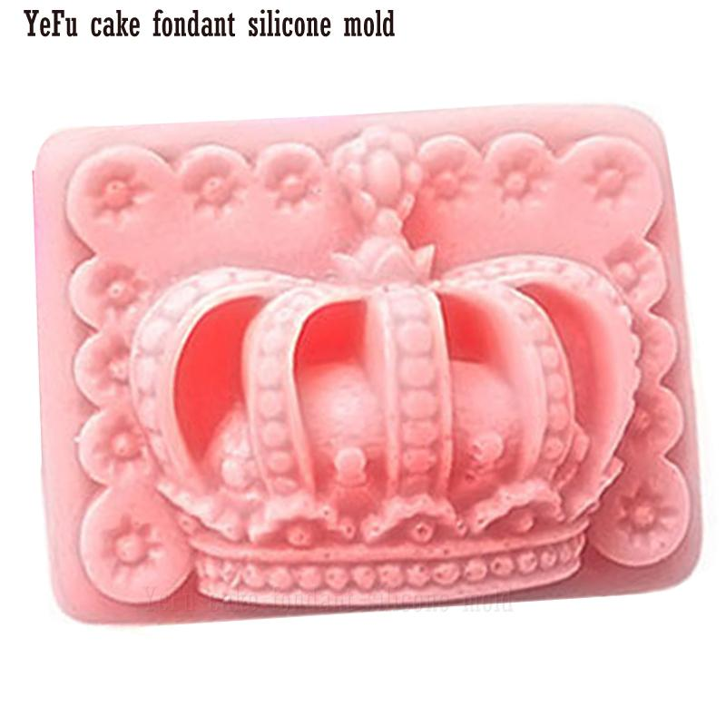 3D big Crown Fondant chocolate silicone mold cake decorating tools Candles, DIY handmade soap Mould F0939
