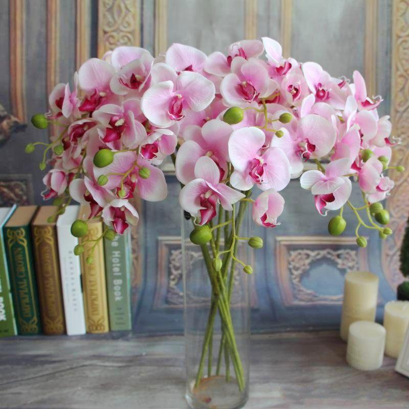 """100pcs populaire blanc fleur d'orchidée papillon Phalaenopsis 78cm / 30.71 """"Longueur 10Pcs / lot 7 couleurs Phalaenopsis artificiel pour épouser le bateau EMS"""