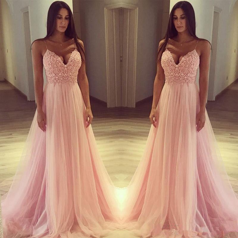 Compre Hermosos Vestidos De Noche De Color Rosa 2018 Correas De Espagueti Apliques De Encaje Una Línea De Vestidos De Gala De Fiesta Formal De Fiesta