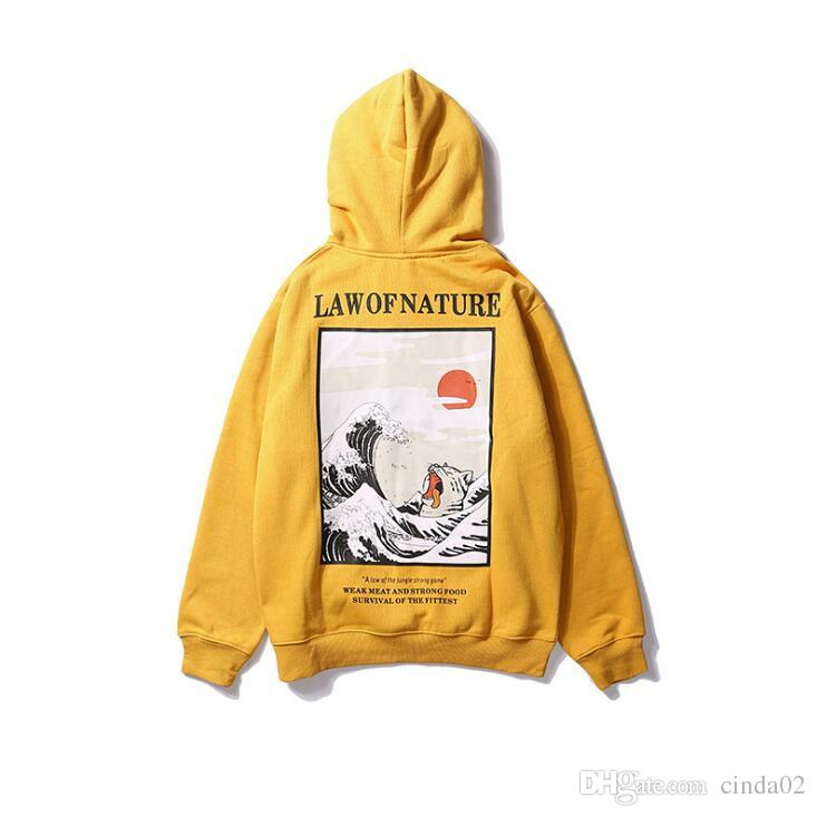 Japanische Stickerei Lustige Katze Welle Gedruckt Fleece Hoodies Winter Japan Style Hip Hop Beiläufige Sweatshirts Streetwear
