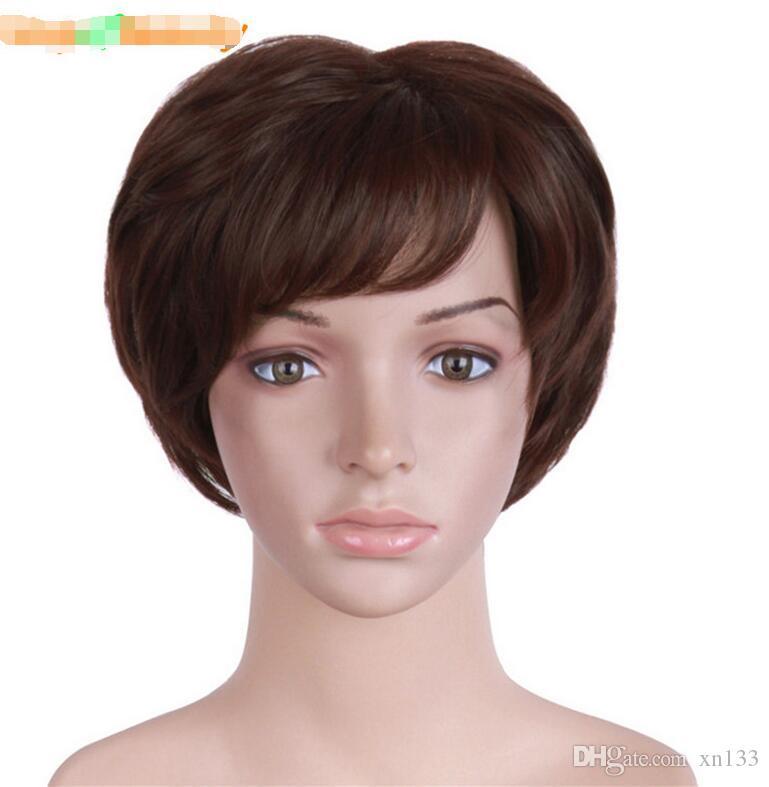 Kurze lockige Perücken für Frauen Brown gefälschte Haarteile natürliche falsche Haarteile Kunsthaar hitzebeständig
