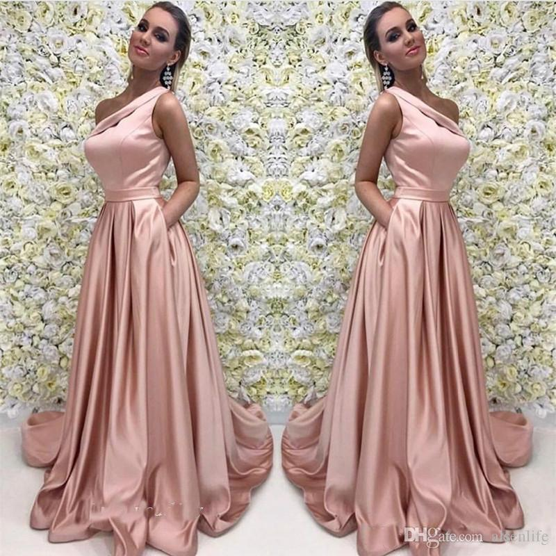 A Line Pink Long Evening Dresses One Shoulder Satin Formal Prom Party Event Gown Plus Size Custom Made