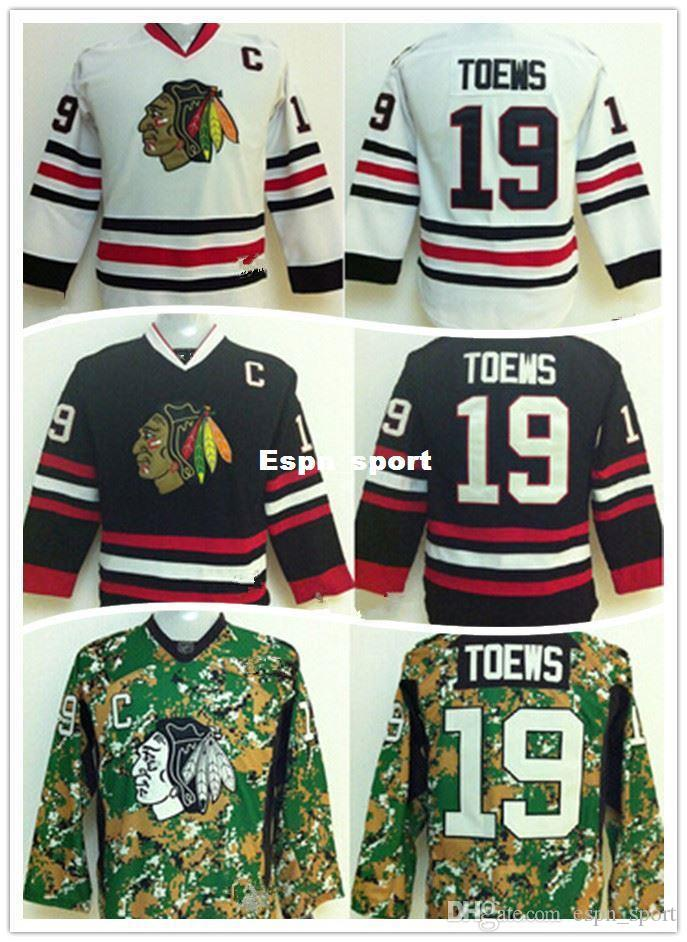 Factory Outlet, Chicago Blackhawks Kids Jerseys 19 Jonathan Toews Youth Hockey Jersey Black White Green Camo With C Patch