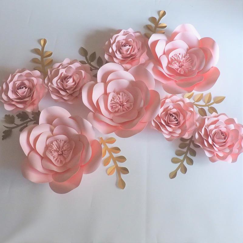 8pcs Dev Kağıt Çiçekler 8pcs + 7pcs Yapraklar Flores Artificiales Fleur ARTIFICIELLE Düğün Olay Backdrop Parti Bebek, Çocuk