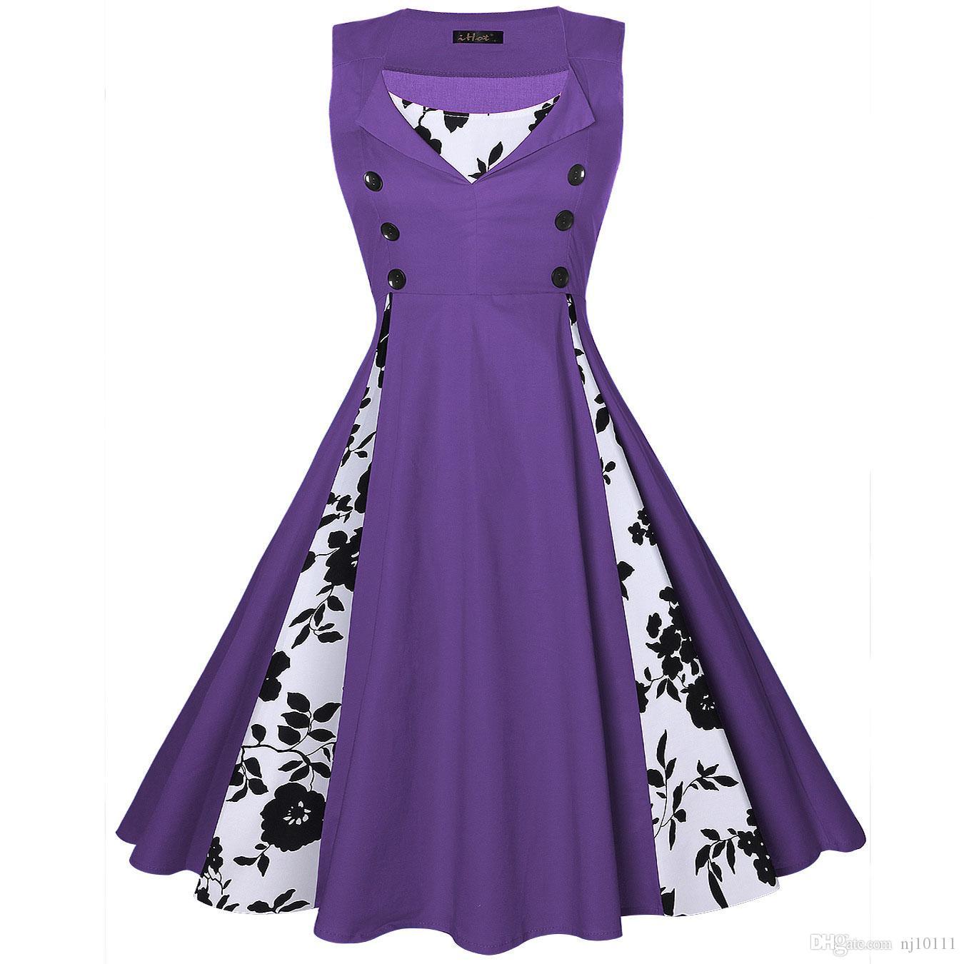 Compre S 5xl Vestido De Bata De Mujer Retro Rockabilly Dot Swing ...