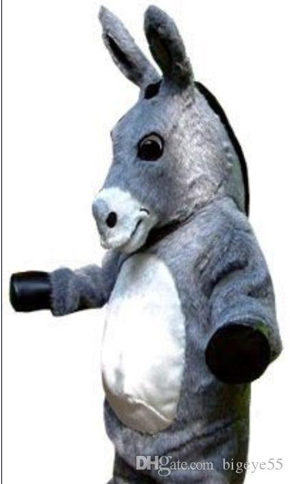 Costume della mascotte di asino grigio personalizzato spedizione gratuita