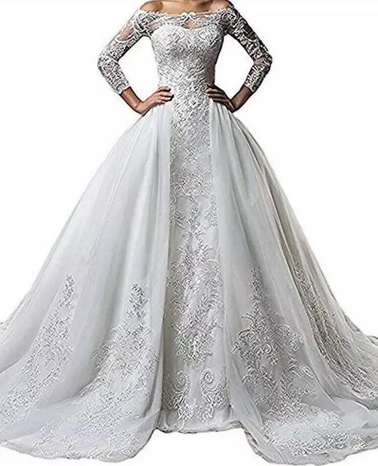 쉬어 긴 소매 레이스 웨딩 드레스 스커트 환상 목 인어 신부 드레스 분리형 기차 웨딩 드레스 섹시한 Vestido 드 Noiva