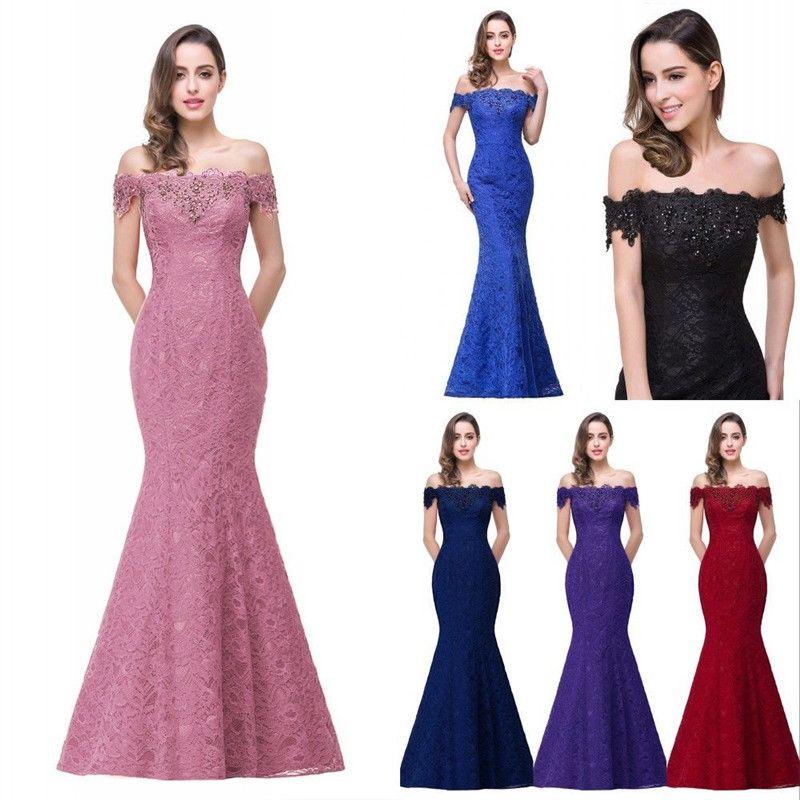 New Designer Cheap In Stock Designer Prom Dresses Off Shoulder Lace Appliques Mermaid Bridesmaid Dresses Corset Back CPS199