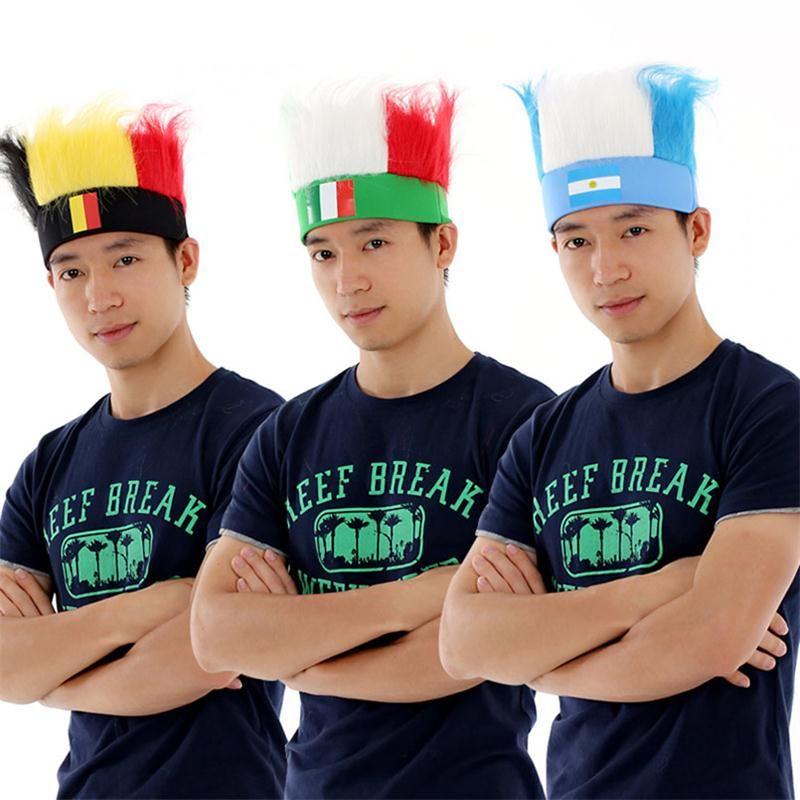 Vendita calda Bandiera nazionale Copricapo Coppa del mondo Fans Cappelli per parrucca unisex colore Ployester da calcio
