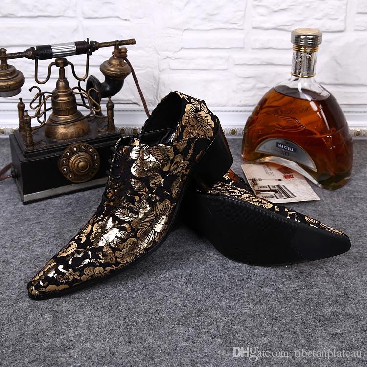 2016 Nowy Złoty Jesień Biznes Mężczyzna Szpiczasty Skórzane Buty Vintage Dress Party Oxfords dla Mężczyzn Tania Cena Dobry Buty Mężczyźni