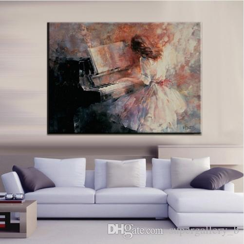 Abstract Beautiful Lady Playing Piano Handpainted & HD Print Art oil painting,Home Wall Decor On High Quality Canvas Multi Sizes p402