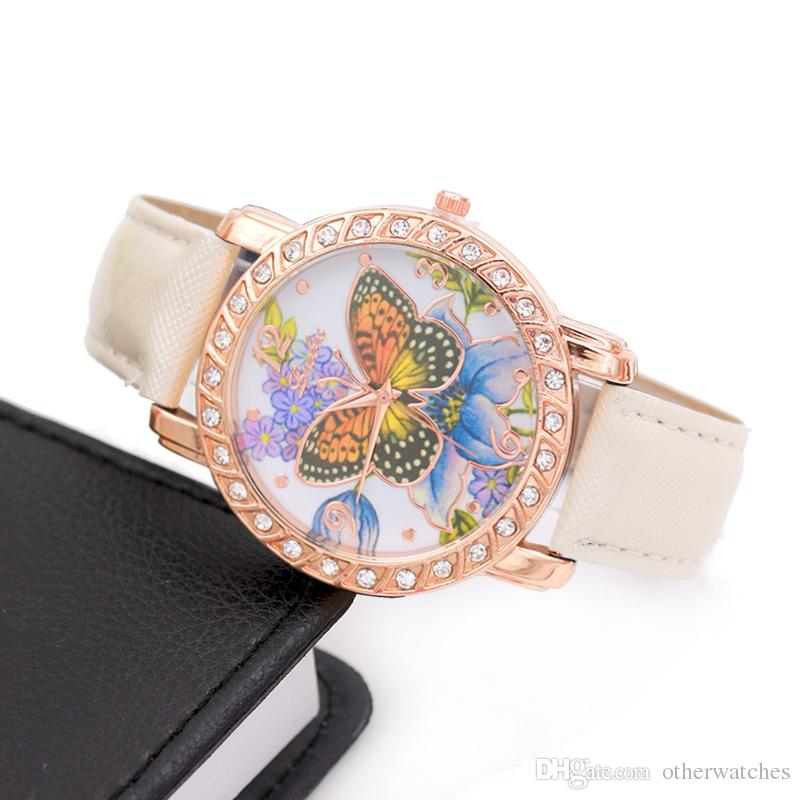 Butterfly flower lady watch charm point drill bright belt Watch Wristwatches