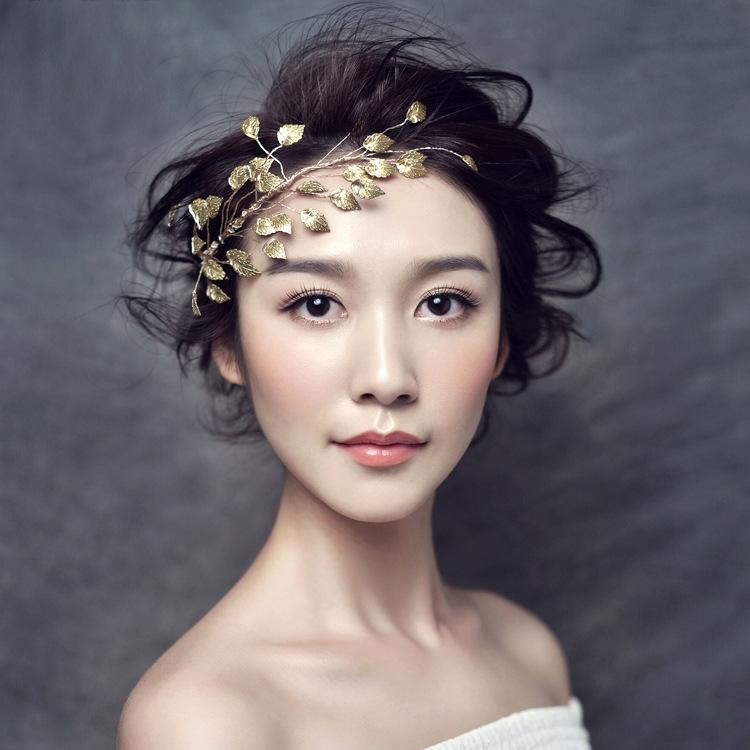 Gorgeous Gold color leaf headband hair jewelry metal alloy tiara women crown hair ornaments bridal pom wedding hair accessories