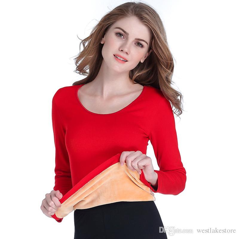 Женщины термобелье сексуальный U-образным вырезом теплое нижнее белье сексуальная женщина зима длинные Джонс один топы