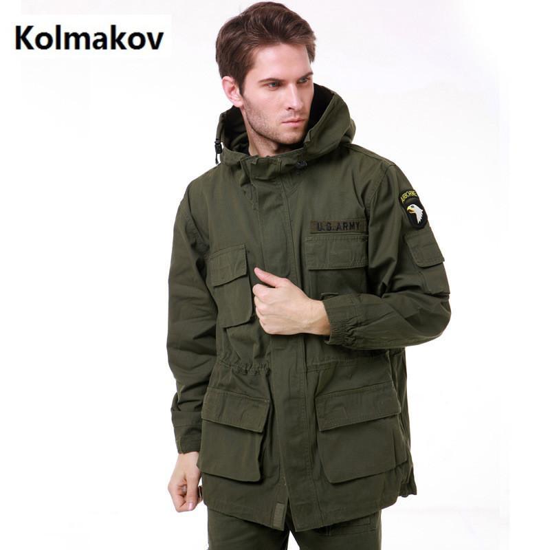 Atacado- KOLMAKOV 2017 moda masculina 100% algodão jaquetas cowboy casaco homens de alta qualidade engrossar trench coat jaqueta homens windbreak