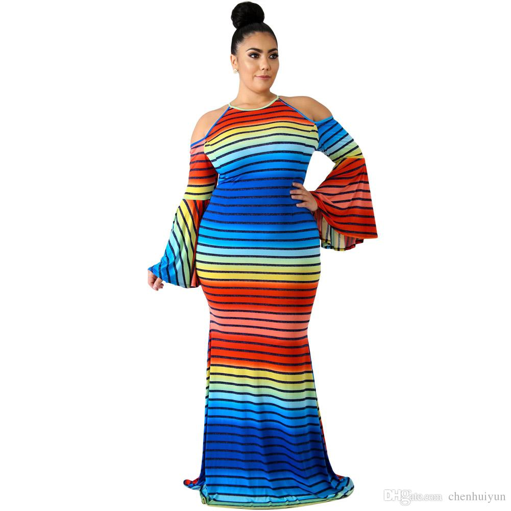 Rainbow Striped Cold Shoulder Plus Size Dress From China Green Dress Pink  Dress From Chenhuiyun, $28.15| DHgate.Com