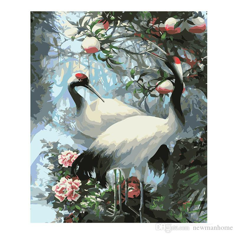 Double birds crane sparrow picture diy oil painting paint by number delicate color block 40cm * 50cm size no frame freeshipping wholesale