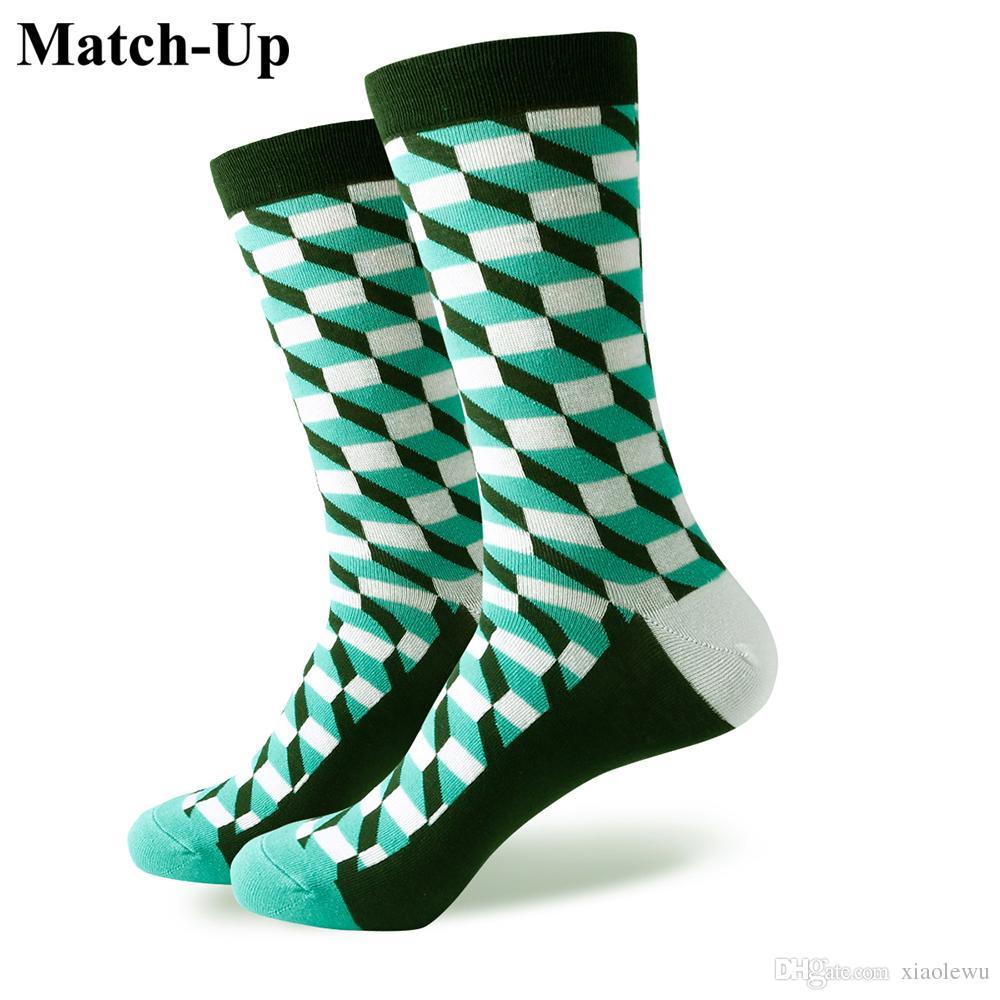 2016 nouveaux hommes colorés chaussettes en coton peigné, chaussettes à carreaux, livraison gratuite, taille américaine (7.5-12) 364