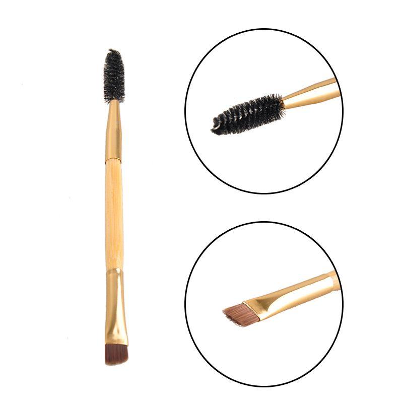 Herramientas de maquillaje profesional Manija de bambú Cepillo de doble extremo + cepillos de peine de cejas