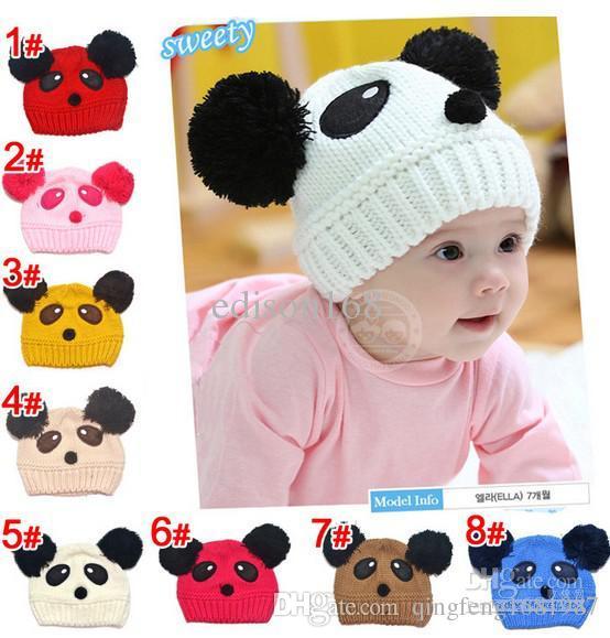 2018 new Autumn Winter children knitting panda cartoon hat boy girl cap (8colour) edison168
