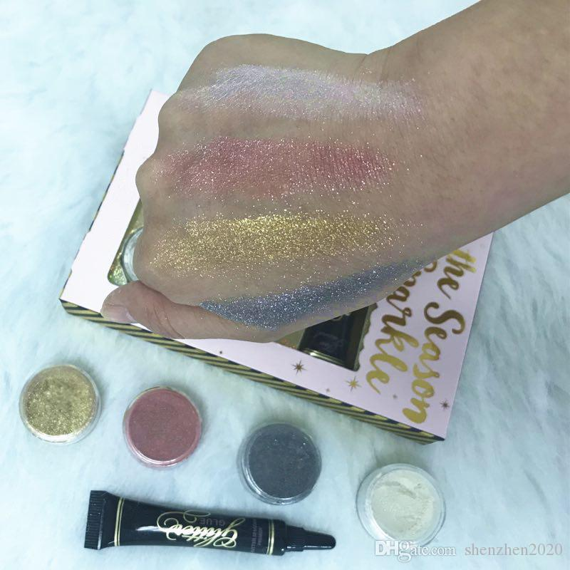 HOT Makeup Faced eyeshadow 4 colors LOOSE GLITTER AND GLITTER PRIMER SET Glitter Glue Tis The Season To Sparkle Set DHL shipping 2018 good