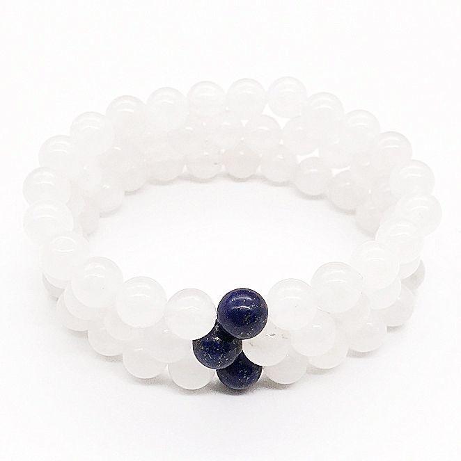 Pulsera de jade blanco de 10 mm, pulsera de piedras preciosas, cuentas redondas de lapislázuli, pulsera elástica, pulsera de buena suerte