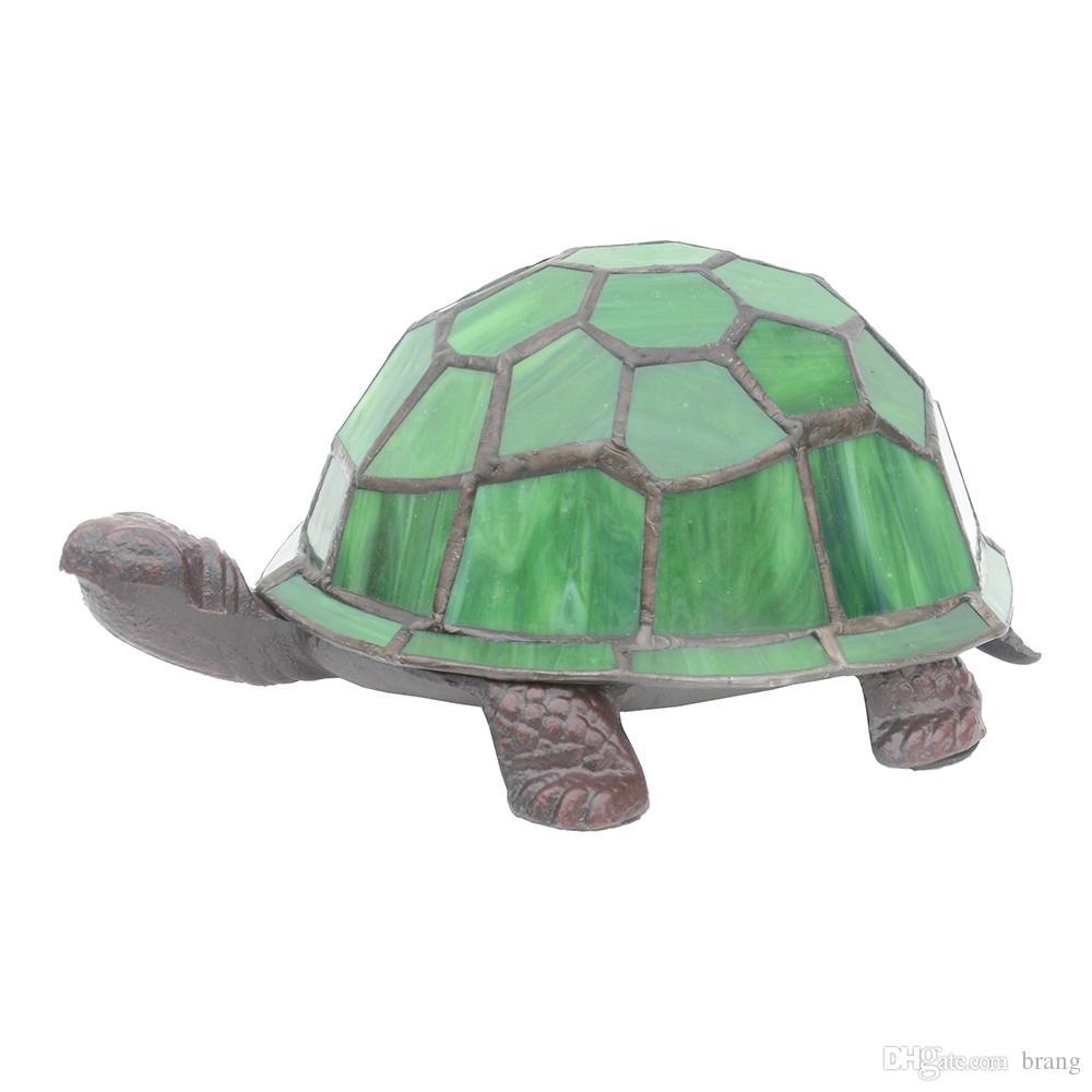 Cute Green Turtle Night lamp Lead light Stained Glass Lighting Art Decor Lamp Novelty Gift Iron Lamp Base