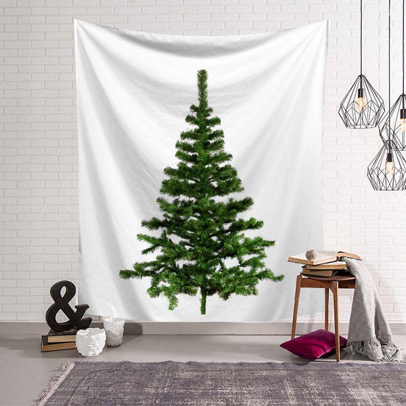 150 * 200cm Dekorations-Tapisserie des neuen Jahres druckte Weihnachtsbaum hängende Wandkunst blaue grüne Bäume Winterfest tapiz Polyesterteppich