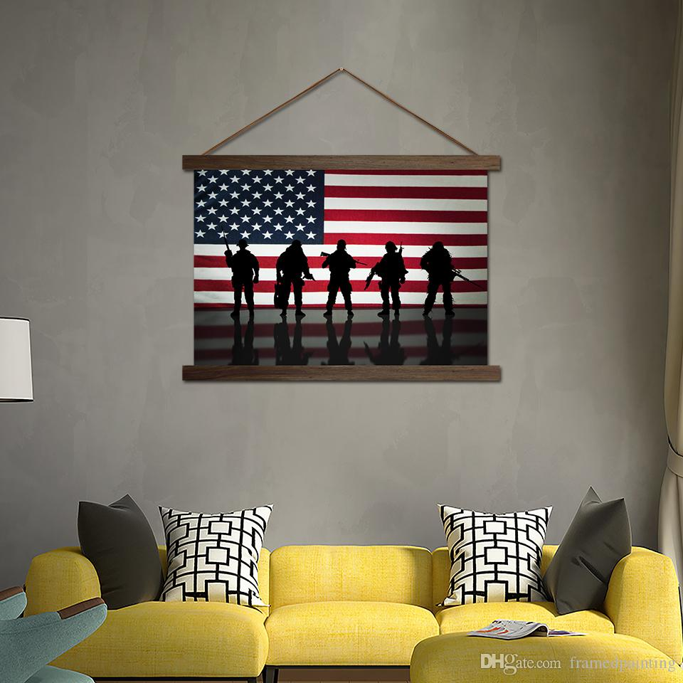2019 Modern Canvas Poster American Flag Soldiers Paintings Living Room  Decor Wall Art HD Prints Scroll Pictures Hanging Wooden Framed From ...