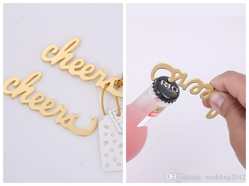 (100Pcs/lot) Simply Elegant Wedding and Party shower gift of Cheers Gold Bottle Opener Favors for Bridal shower and parry favor
