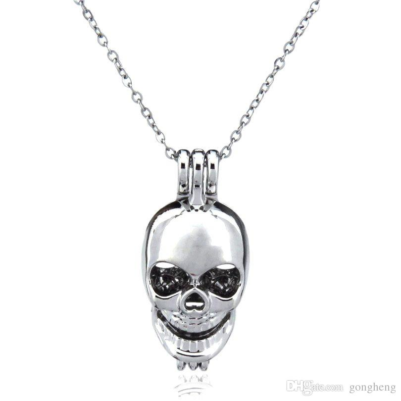 Silver Beauty Skull Punk Hollow Oil Diffuser Locket Women Aromatherapy Beads Pearl Oyster Cage Necklace Pendant-Boutique gift
