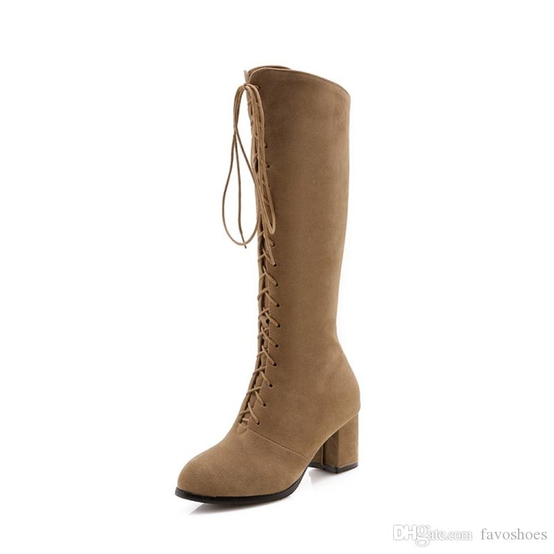 Fashion Hot Sale Womens Ladies Faux Suede Chunky High Heel Lace Up Zip Knee Boots FS-B969 Shoes Size By Favoshoes
