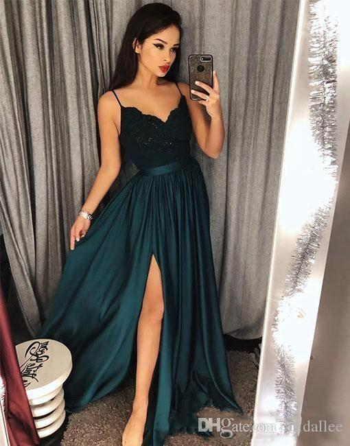 2018 Evening Gowns A-Line Blackish Green High Split Cutout Side Slit Lace Sexy Arabic Gowns Sweep Train Formal Party Prom Dresses