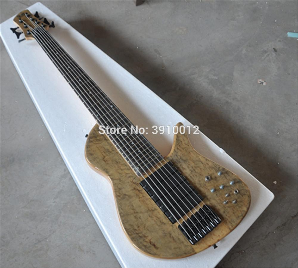TOP quality 7 strings bass guitar Black Hardwares24Frets,Rosewood Fretboard,Neck-through Body