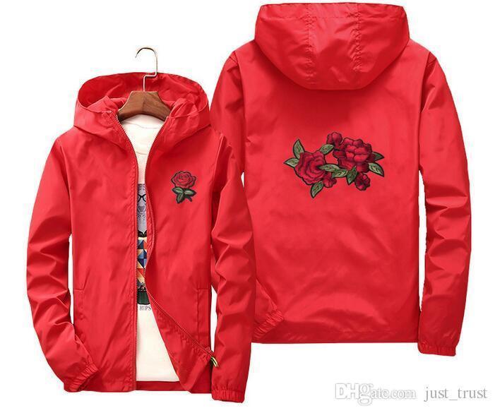 Hot Plus size S~6XL 3D Rose Jacket Windbreaker Men Women's Jacket kids outdoor outercoat Roses Outwear Coat sports running Outdoor windcoat