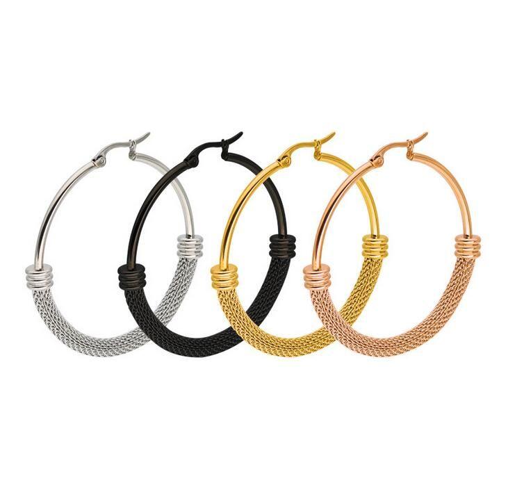 Art und Weiseentwurfs-Bandohrringpunkart Rose Gold / Silver / Black-Edelstahl große runde Bolzenohrringe für Frauenschmucksachen 10pair / lot