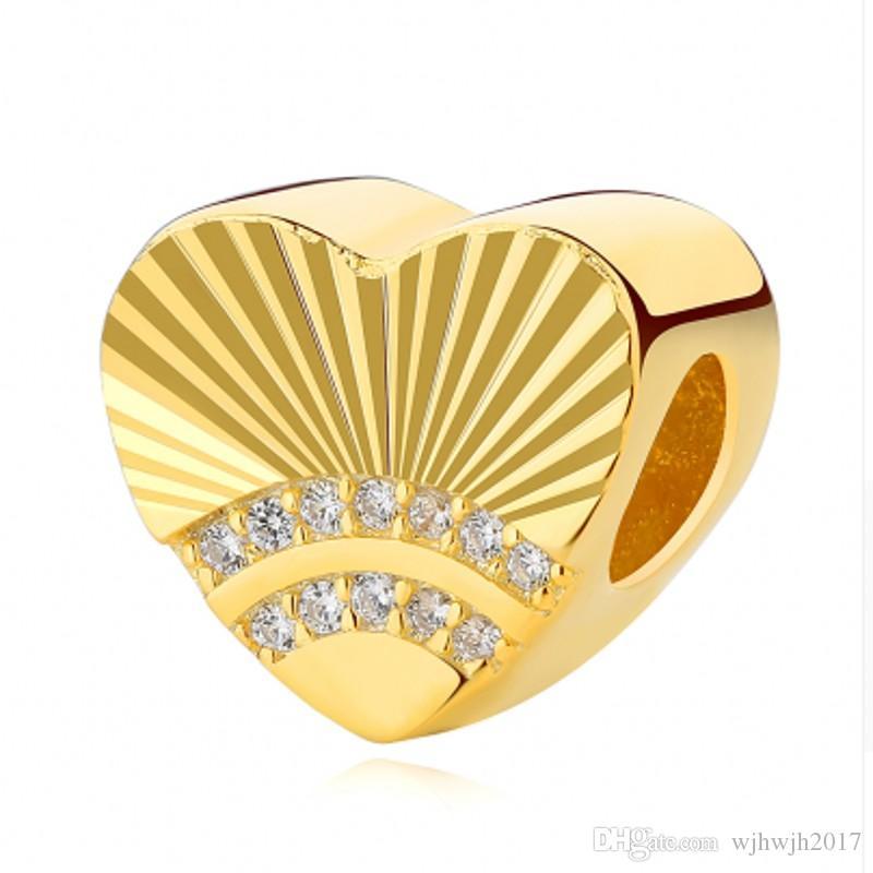 Nouveau Authentique 925 breloques en argent perles en cristal d'or sterling plaqué Coeur Saint Valentin Fit original européenne femmes Bracelets bricolage Bijoux
