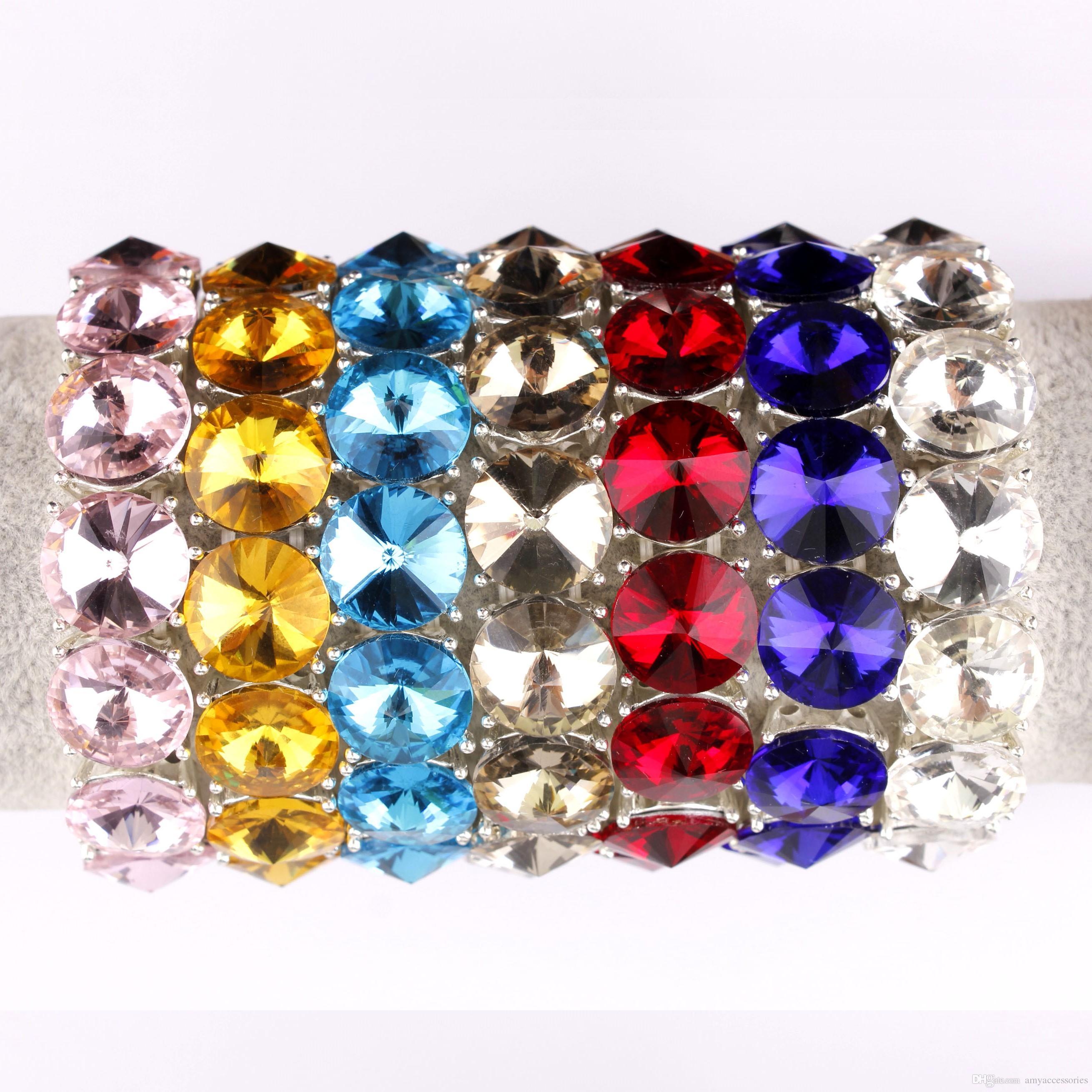Vente chaude Verre Cristal Dot Wrap Bracelet Extensible pour Filles et Dames Boutique Bijoux Facettes Strass Bracelets Bracelets Réglable