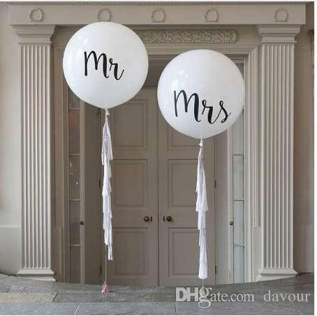 1 sztuk / partia Dobra Jakość 36 cali Round Biały Drukuj MRMRS Latex Balony Szczęśliwe Walentynki Wydarzenie Powietrze Globos Dostawy