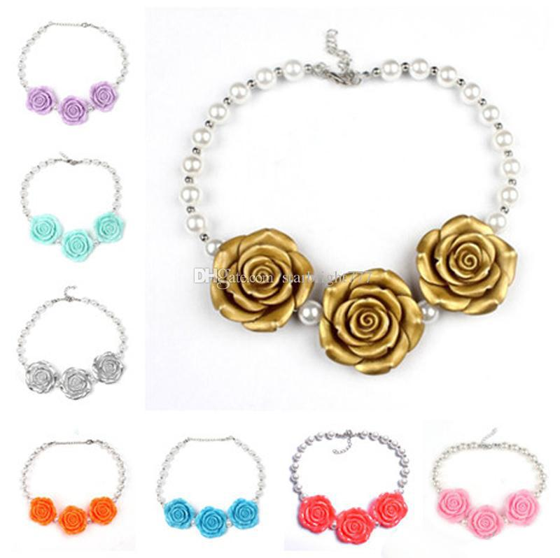 8 Colors New Arrival Children Boutique resin Rose Flower Necklace Girls Princess Chunky Bubblegum Necklace For Dress Up Free Shipping