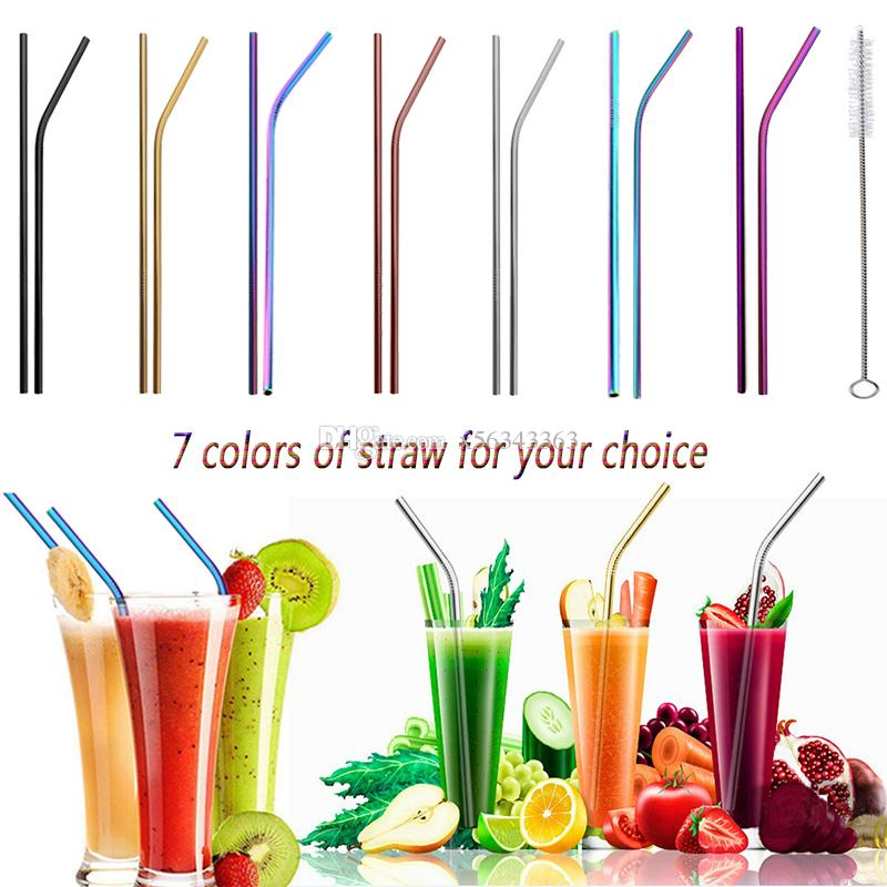 Stainless Steel Drinking Straw 8.5inch - 10.5inch Reusable Colorful Straight Bent straw for Bar fruit juice Drinking water tools