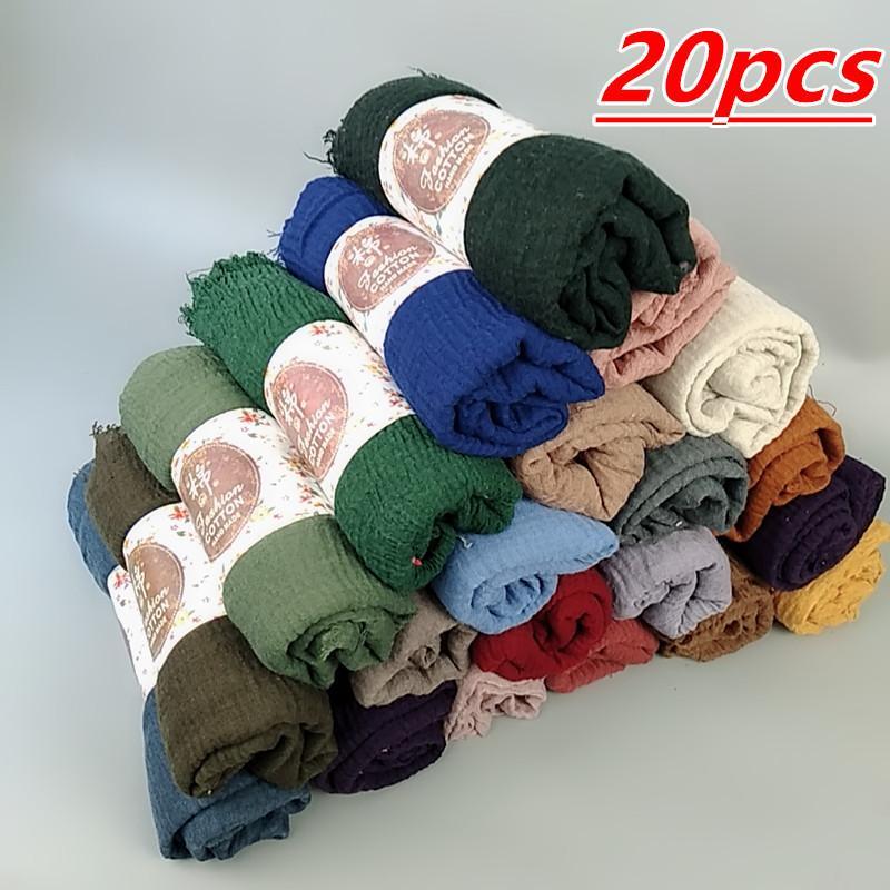 N16 20pcs 1lot Hot sale bubble plain hijab scarf/scarves fringes soft plain hijabs muffler shawls big wrap pashmina S18101904