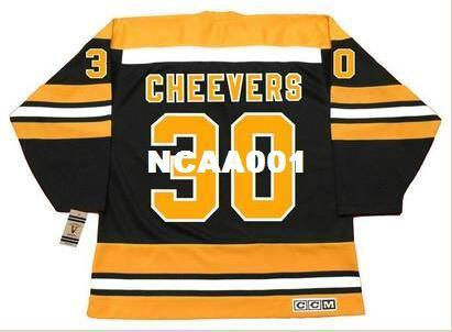 Mens #30 GERRY CHEEVERS Boston Bruins 1975 CCM Vintage Hockey Jersey or custom any name or number retro Jersey