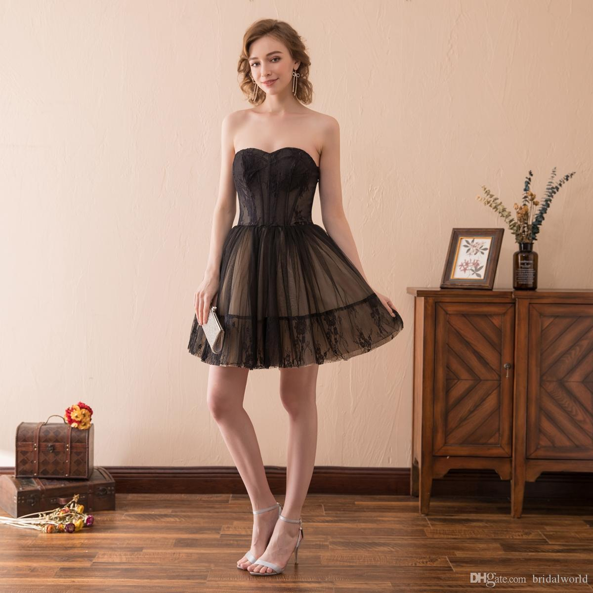 Walk Beside You Black Cocktail Dresses Sweetheart Lace Short Lace Ball Gown  Party Formal Gowns vestidos ... afbe6709562f