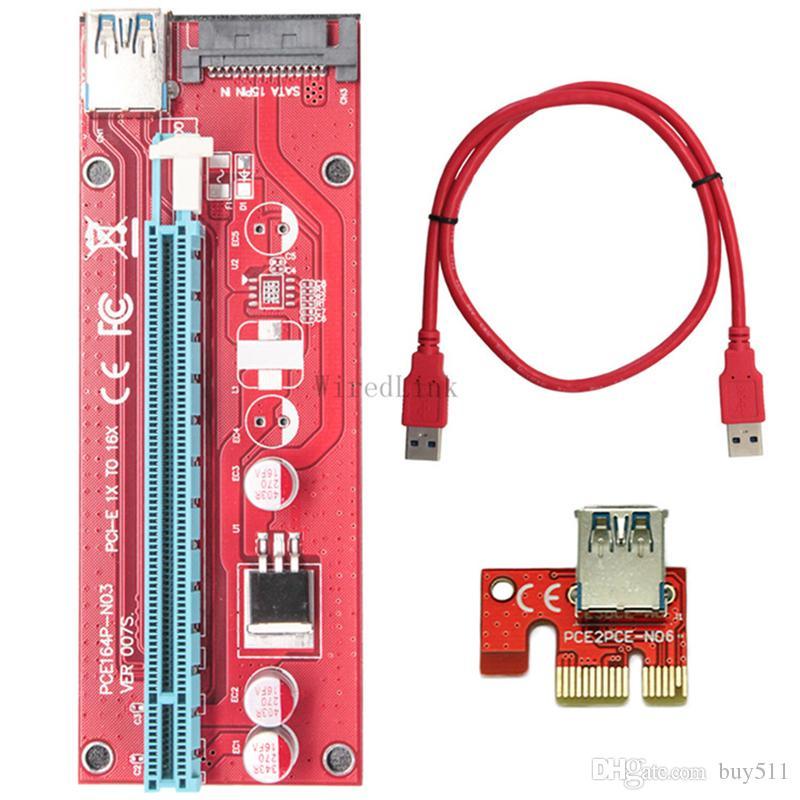 10 takım / grup PCI-E 1X 16X Grafik Kartı Uzatma Veri VER007S BTC Madenci DIY Için SATA Kablosu Kırmızı