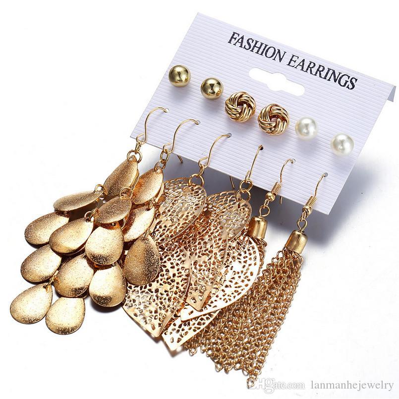 Drop Earrings Jewelry Set 2018 Brand New Fashion Pearl Earrings Hollow Out Leaves Alloy Chains Tassels Dangle Chandelier Wholesale LER100