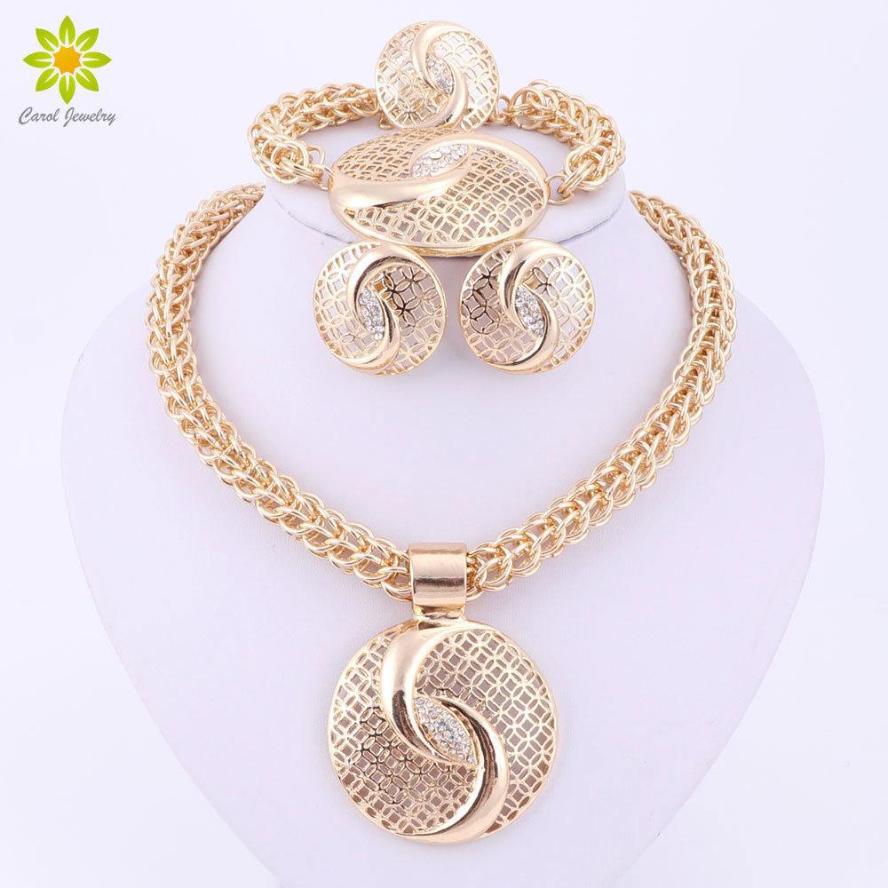 Последние Роскошные Большой Дубай Золотой Цвет Кристалл Ожерелье Ювелирные Наборы Мода Нигерийский Свадьба Африканский Бисер Бижутерия D18101003