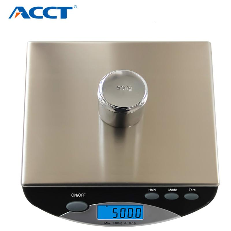 2000g*0.1g Digital Portable Kitchen Scale Electronic Cooking Baking Meature Tool Balance Precision Pocket Weight Scales Stainless Steel