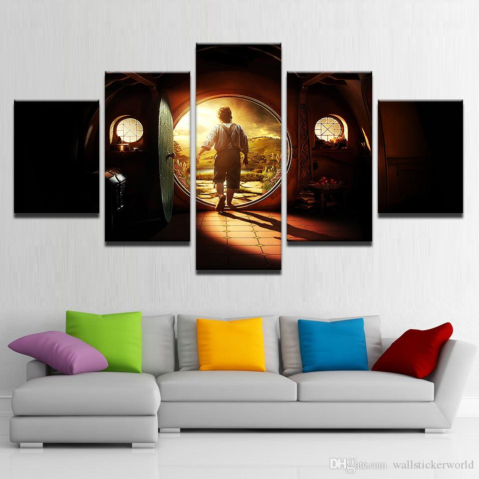 Canvas Pictures Home Decor Wall Art 5 Pieces Lord Of The Rings Paintings Living Room HD Prints Abstract Movie Posters Framework